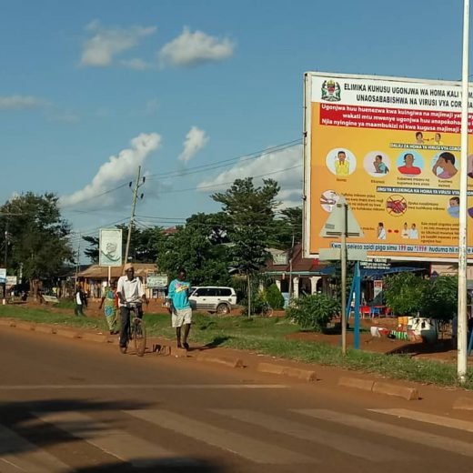 One of the billboards installed in Geita Town  to create public awareness about COVID-19.